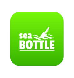 Sea bottle icon green vector