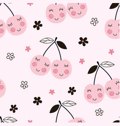 Seamless pattern with abstract cherries vector