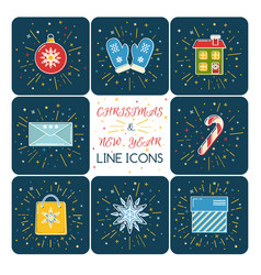 set colored christmas icons in thin line style vector image