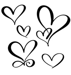 Set lovers heart handmade calligraphy vector