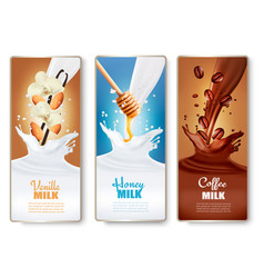 set of banners with chocolate and milk splashes vector image
