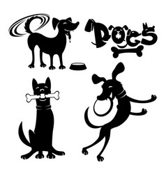 set of dog signs vector image