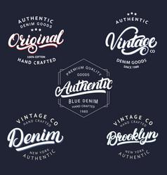 Set of vintage brooklyn denim original vector