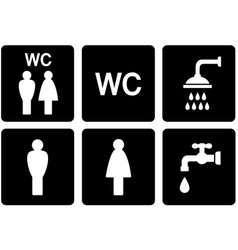 Set of WC signs with shower and tap vector