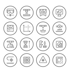 set round line icons laser cutting vector image