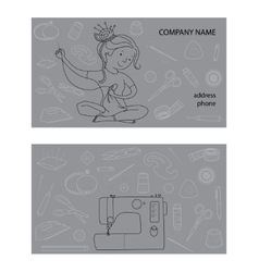 Sewing studio business card template vector image