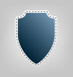 shield sign blue icon with vector image