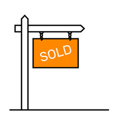 Sold sign house placard icons set vector