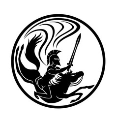spartan with a sword on horseback vector image