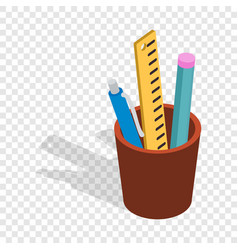 stationery in brown cup isometric icon vector image