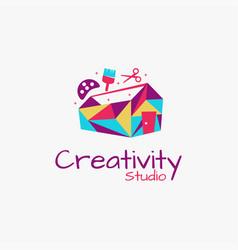 Tool box and house studio art logo ico vector
