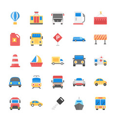 Transport flat icons set vector