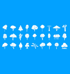 tree icon blue set vector image