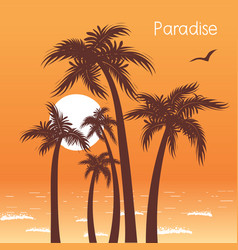 Tropical island paradise with palms silhouette vector