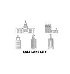 united states salt lake city line travel skyline vector image