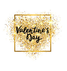 valentines day gold glitter heart with glowing vector image