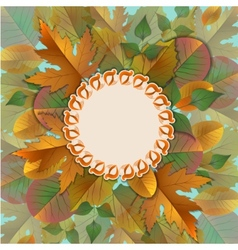 Vintage frame with autumn leaves vector