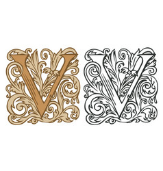 Vintage initial letter v with baroque decoration vector