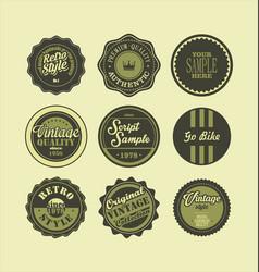 vintage labels black and green set 2 vector image