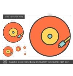 Vinyl turntable line icon vector