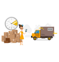 Waiting for truck cargo transportation time on vector