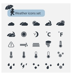 Weather black icons set vector