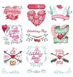 Wedding emblems setInvitationsLabelsdecor vector image