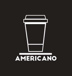 White icon on black background americano to vector