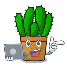 With laptop spurge cactus in a flowerpot cartoon vector