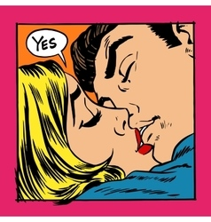 Woman and man kissing vector