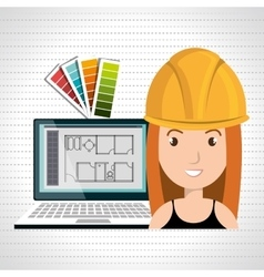 woman architect laptop tool vector image