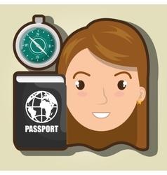 Woman compass passport travel vector