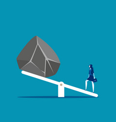 Woman with huge stones on seesaw concept business vector