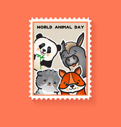 world animal day cute animals vector image