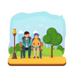 young couple is resting on park bench after walk vector image