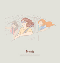 young girlfriends on road trip happy women ride vector image