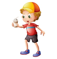 A boy with a disposable glass vector image vector image