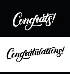 congrats and congratulations hand written vector image vector image