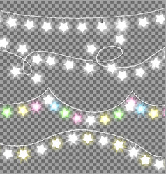 garland ropes with bulbs on transparent background vector image