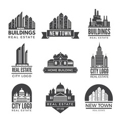labels or logos with pictures of different modern vector image vector image