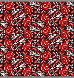 ukrainian floral embroidery seamless pattern vector image