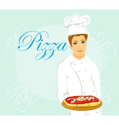 chef with pizza vector image vector image