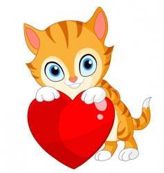 kitten with heart Valentine's vector image