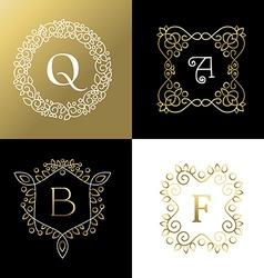 Ornament gold outline frame leaf flower decoration vector image vector image