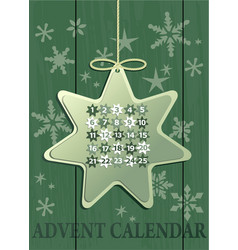 advent calendar with christmas star vector image vector image
