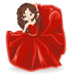 brunette girl in red evening dress vector image vector image