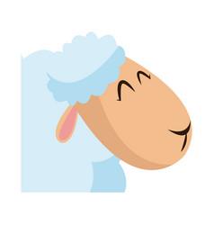 Head sheep animal manger christmas celebration vector