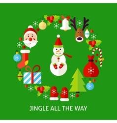 Jingle all the way postcard vector