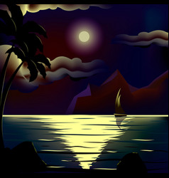 moon over cold night sea vector image