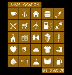Shared Location Icon Set vector image